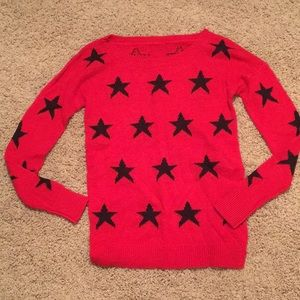 Express Red sweater with black stars